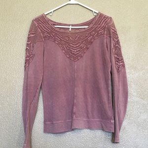 Free People dusty rose lace and studded top